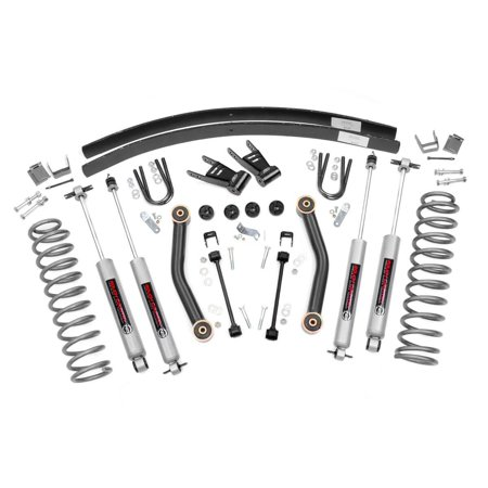 Bronco 4wd Front Lift - Rough Country - 623N2 - 4.5-inch Suspension Lift Kit w/ Premium N3 Shocks for Jeep: 84-01 Cherokee XJ 4WD