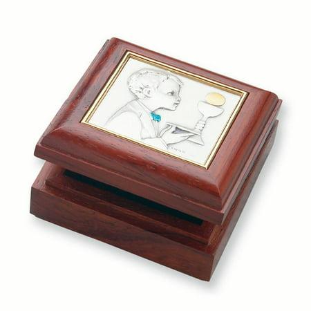 - Boy's Rose Finish Wood Communion Keepsake Box - Perfect First Communion Gift