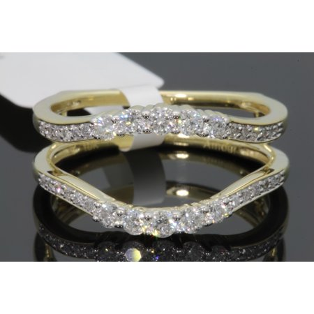 10K YELLOW GOLD SOLITAIRE ENHANCER .57 CT DIAMOND RING GUARD WRAP WEDDING BAND - SIZE 7 (Yellow Gold Ring Wrap)