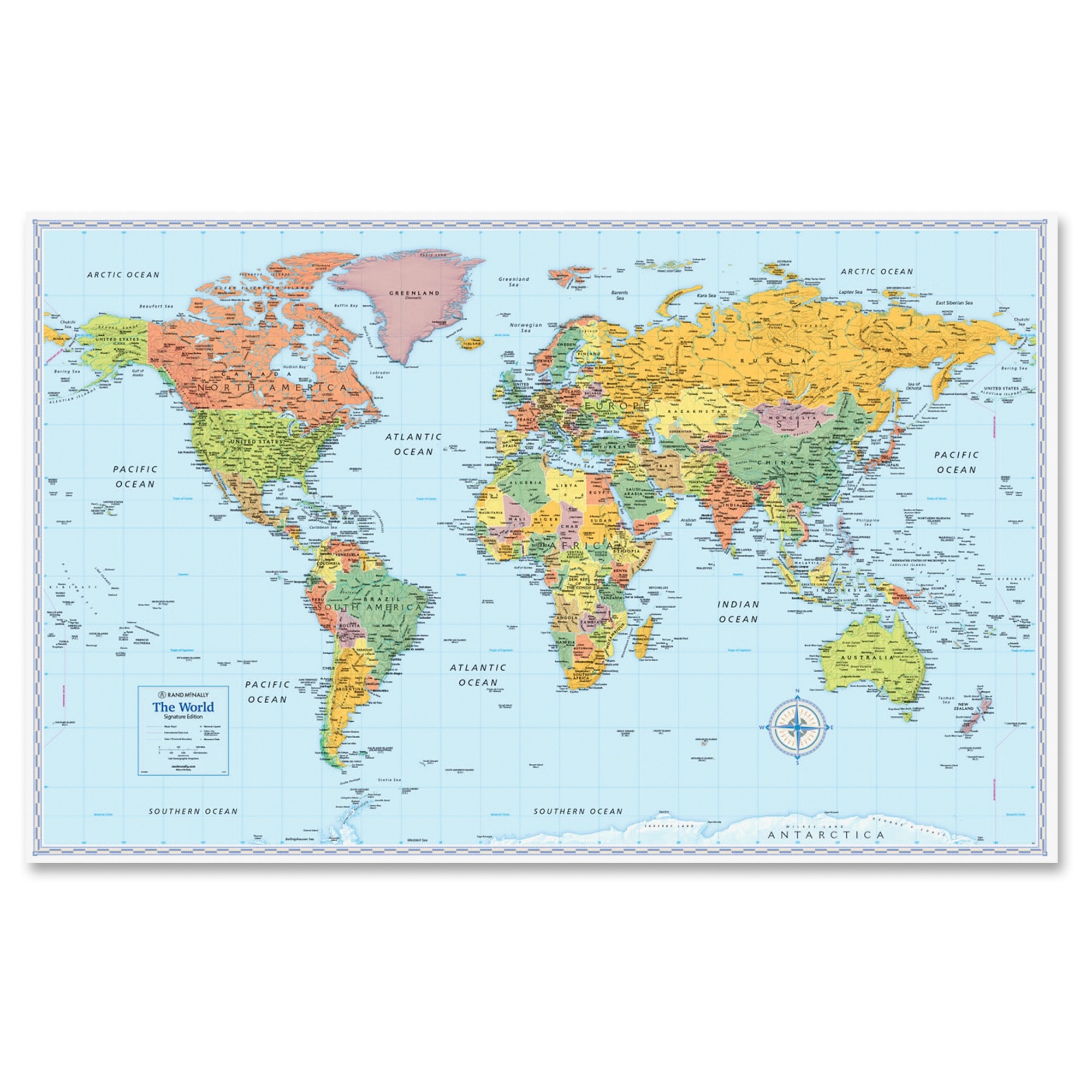 "Rand Mcnally World Wall Map - World - 32"" Width X 50"" Height (rm528012754)"
