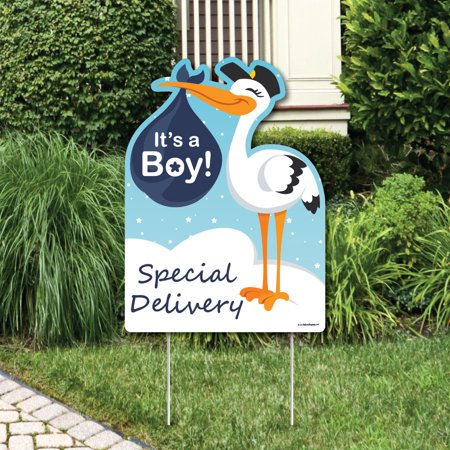 Boy Special Delivery - Baby Shower Decorations - Blue It's A Boy Stork Baby Announcement & Welcome Yard Sign - Baby Announcement Signs For Yard