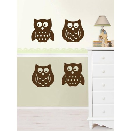 Owl Silhouettes Espresso Brown Wall Decal Sticker Sticker Wall Decal Sticker - - Owl Silhouette