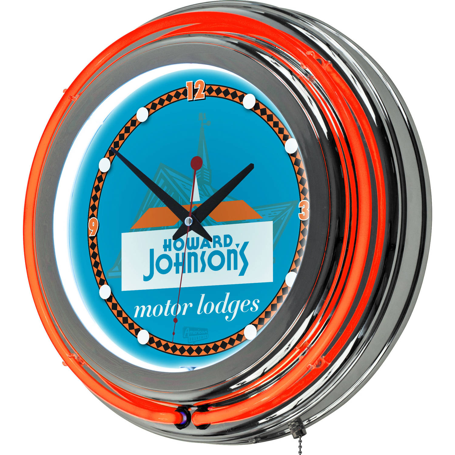 Trademark Global LLC Howard Johnson Wordmark Chrome Double Ring Neon Clock