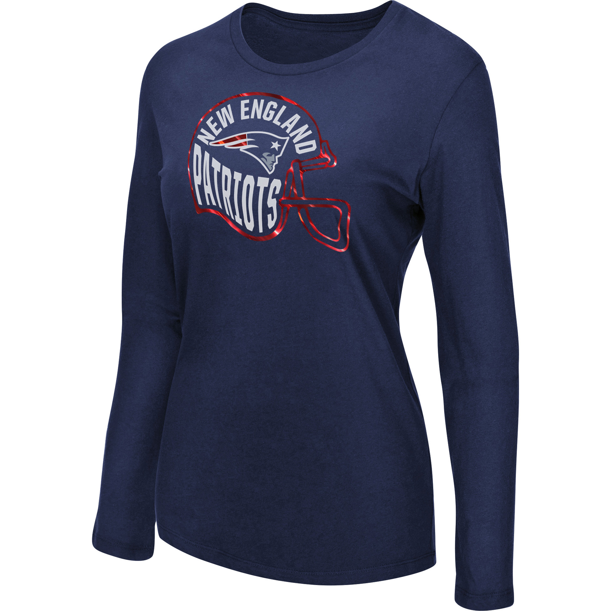 Women's Majestic Navy New England Patriots Turn it Loose Long Sleeve T-Shirt