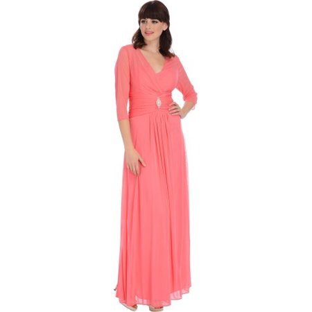 Mesh Bridesmaid Dress with Sleeves Mother of the Bride Gown, 3X,