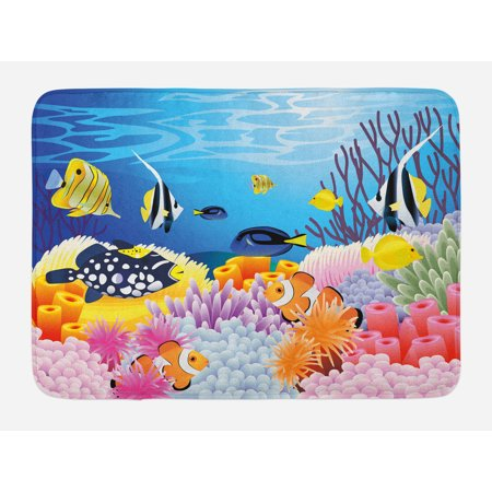 Fish Bath Mat, Water Life with Different Kind of Fishes Coral Reefs and Sponges Kids Nursery Theme, Non-Slip Plush Mat Bathroom Kitchen Laundry Room Decor, 29.5 X 17.5 Inches, Multicolor, - Kitchen Theme Decor