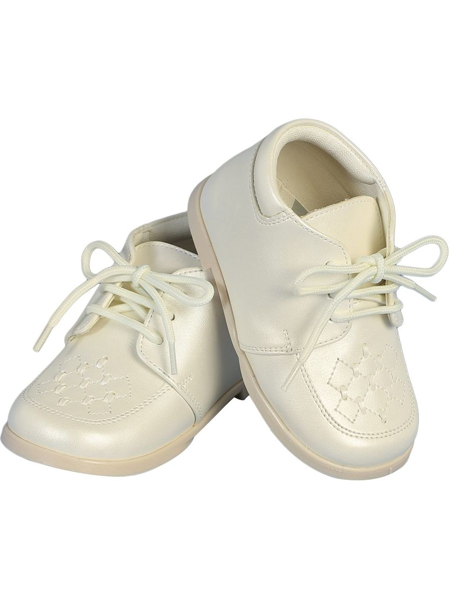 Angels Garment Boys Ivory Lace-Up Leather Christening Shoes