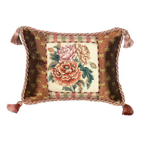 123 Creations Floral Peony Petit Point Wool Throw Pillow