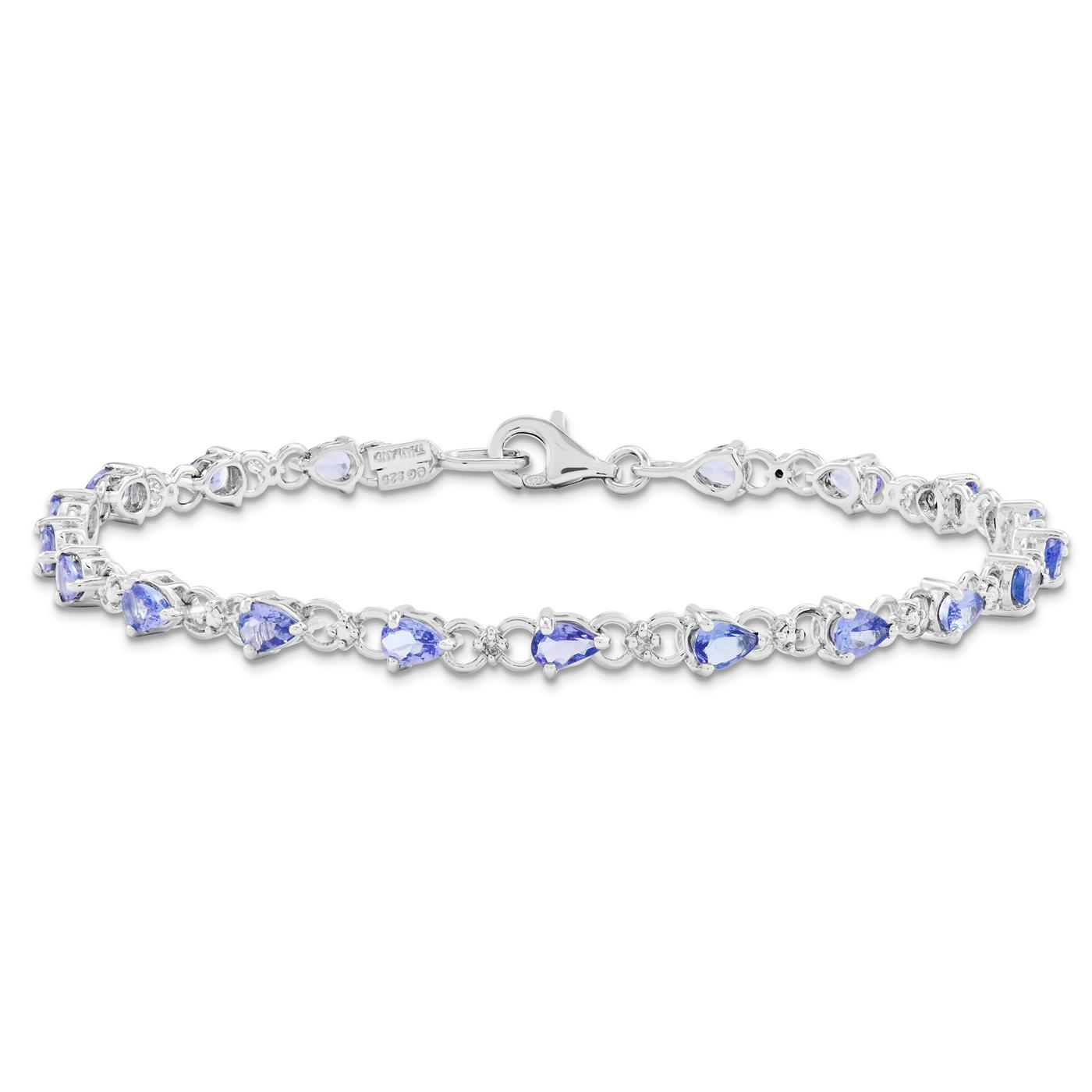 "Ladies 925 Sterling Silver 3mm Tanzanite and Diamond Gemstone Bracelet 7"" by Fusion Collections"