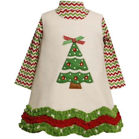 ivory fleece christmas tree dress set 12 month 5 12 months - 12 Month Christmas Dress