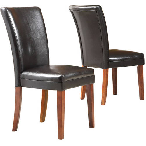 Set of 2 Bi-Cast Leather Parson Dining Chairs, Espresso
