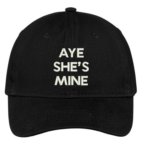 Trendy Apparel Shop Aye She's Mine Embroidered Low Profile Deluxe Cotton Cap Dad Hat](Miner Hats)