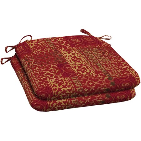 Mainstays Outdoor Wrought Iron Seat Pad Red And Gold