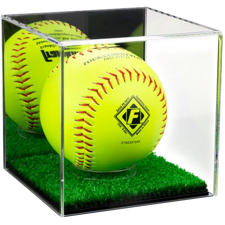 Deluxe Acrylic Softball Display Case with Mirror and Turf Bottom (A081-MTB)
