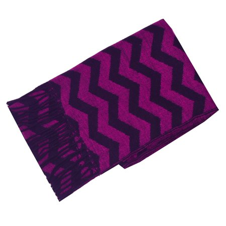Cashmere Feel Women Berry Black Chevron Stripe Fringed Edge Fashion Scarf