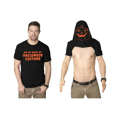Ask Me About My Halloween Costume T Shirt Creepy Flip Up Tee Pumpkin - Me And My Dog Halloween Costumes