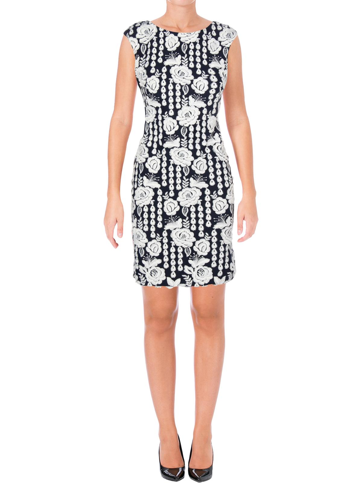 Floral Geometric-Lace Sheath Dress