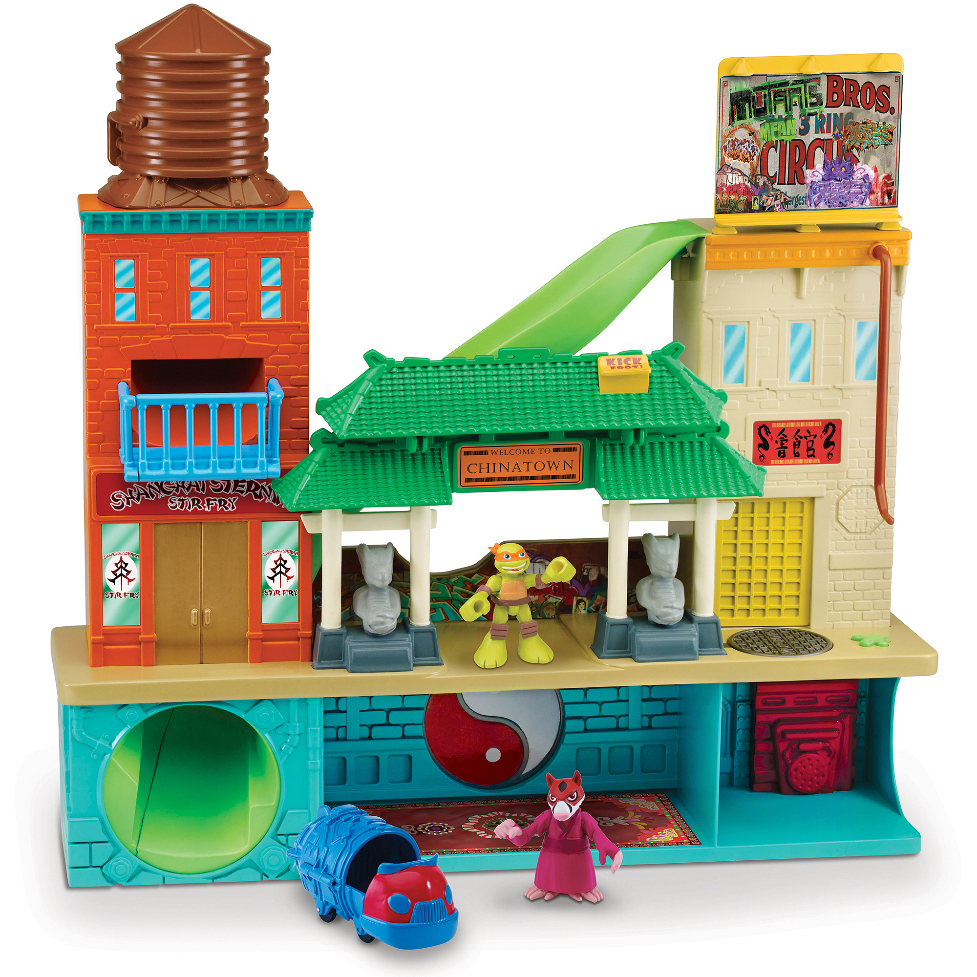 Teenage Mutant Ninja Turtles Sewer Lair Playset with Mikey and Splinter