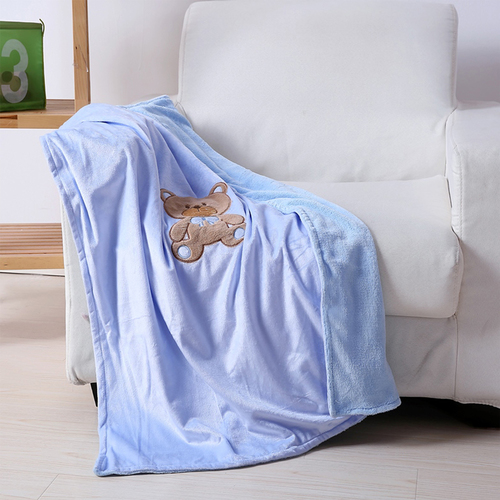 "Noble House Embroidery Baby Blanket, Soft Plush Cozy 30""x40"", Teddy Bear Blue"