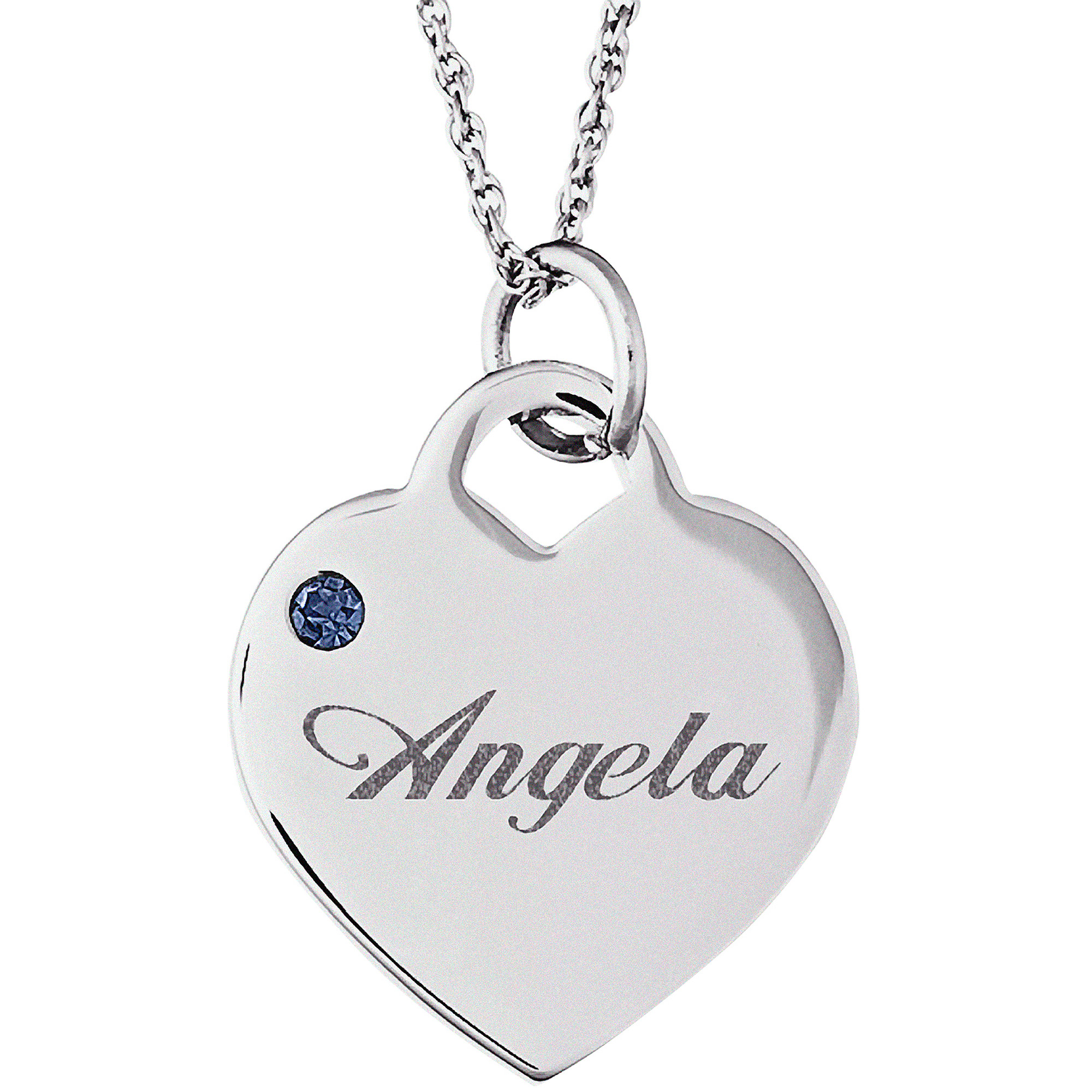 Personalized Silver Tone or 14kt Gold-plated Name and Birthstone Heart Charm Pendant