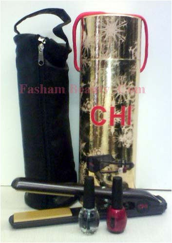 """CHI 1"""" Flat Iron BLACK Holiday Dazzle Collection Gift Set w/ FREE GOODIES"""