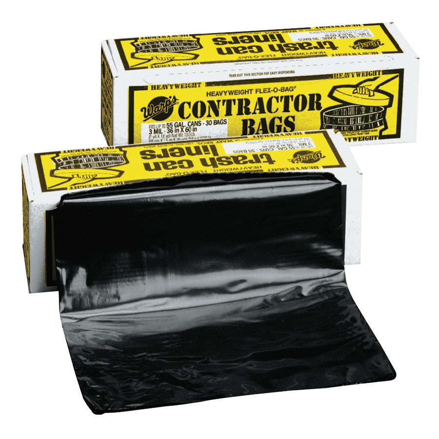 Trash Can Liners, 55 gal, 3 mil, 36 X 56, Black