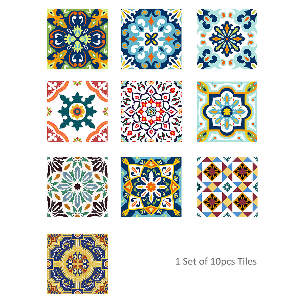 10Pcs Vintage Square Self Adhesive Tile Stickers Decal Home Decor