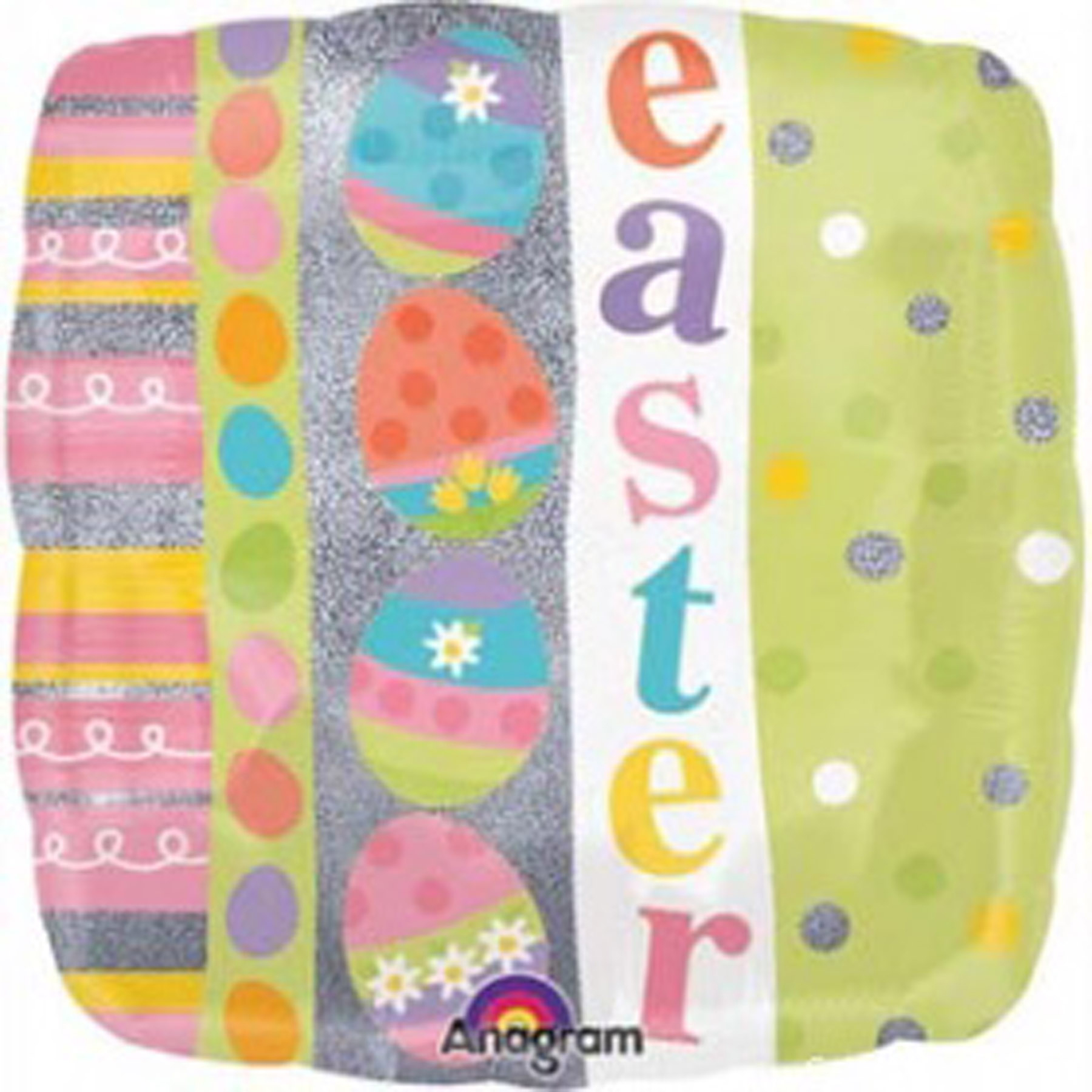 "Anagram Easter Egg Square Holographic Mylar 2-Sided 18"" Foil Balloon"