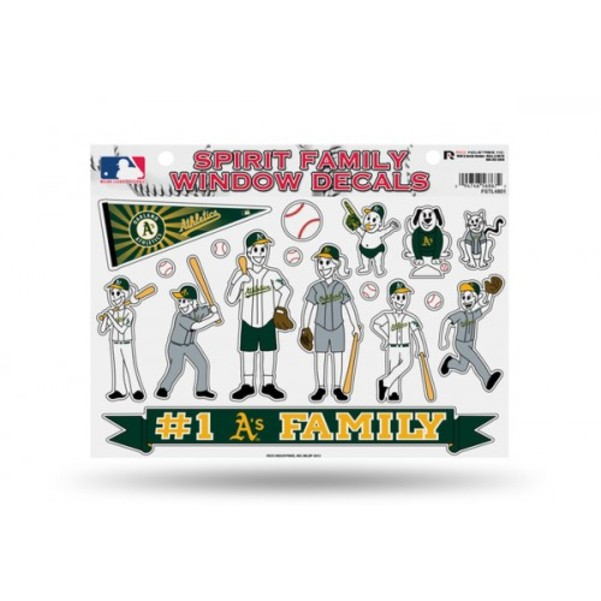 Oakland Athletics Official MLB 11 inch x 11 inch  Large Family Car Decal Sheet by Rico Industries
