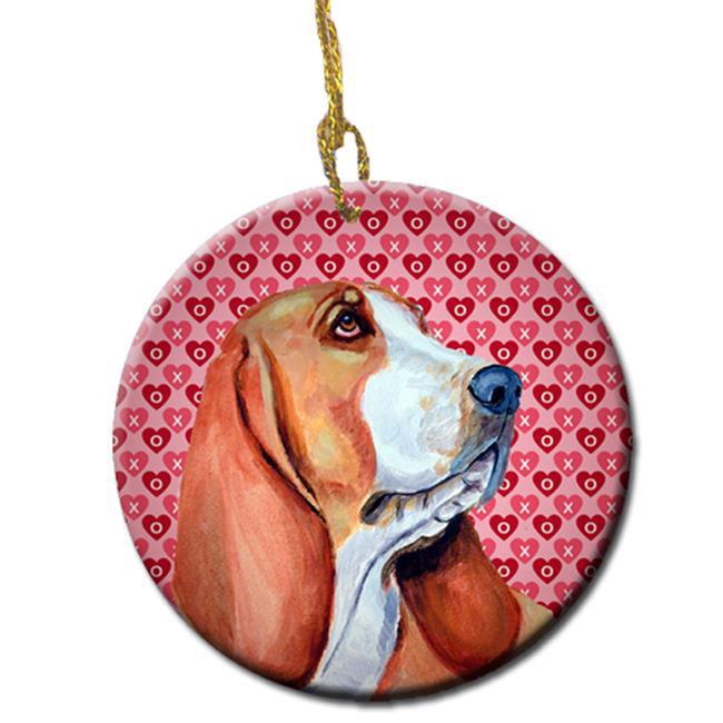 Carolines Treasures LH9152CO1 Basset Hound Valentines Love And Hearts Ceramic Ornament - image 1 de 1
