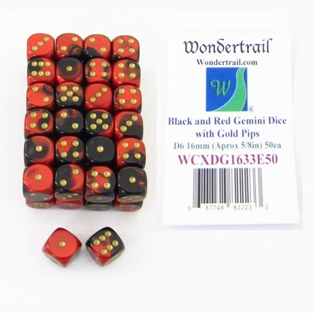 Bulk Dice (Black and Red Gemini Dice with Gold Pips D6 16mm (5/8in) Bulk Pack of 50)