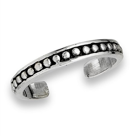 Midi Oxidized Dot Detailed .925 Sterling Silver Simple Stackable Toe Ring Band