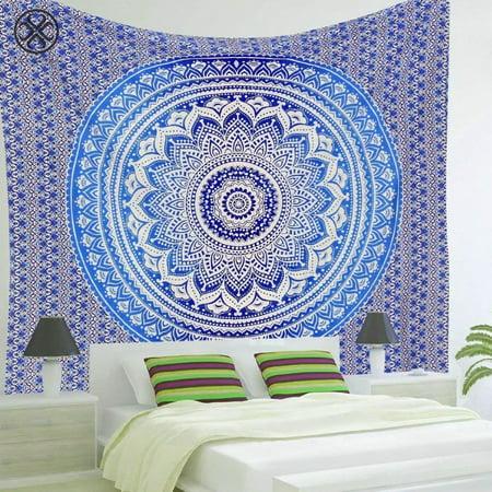 Luxtrada Bohemian Mandala Tapestry Hippie Wall Hanging Tapestry Bedspread Dorm Decor Throw Beach Picnic Blanket (Blue)