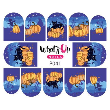 Whats Up Nails - P041 Pumpkin Patch Nightmare Water Decal Sliders for Nail Art Design