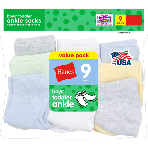 Hanes Newborn Boys Ankle Socks 9 Pack