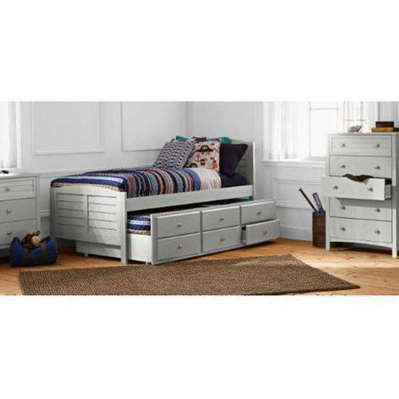 Better Homes Gardens Kids Beach Twin Captain Bed Trundle Gray
