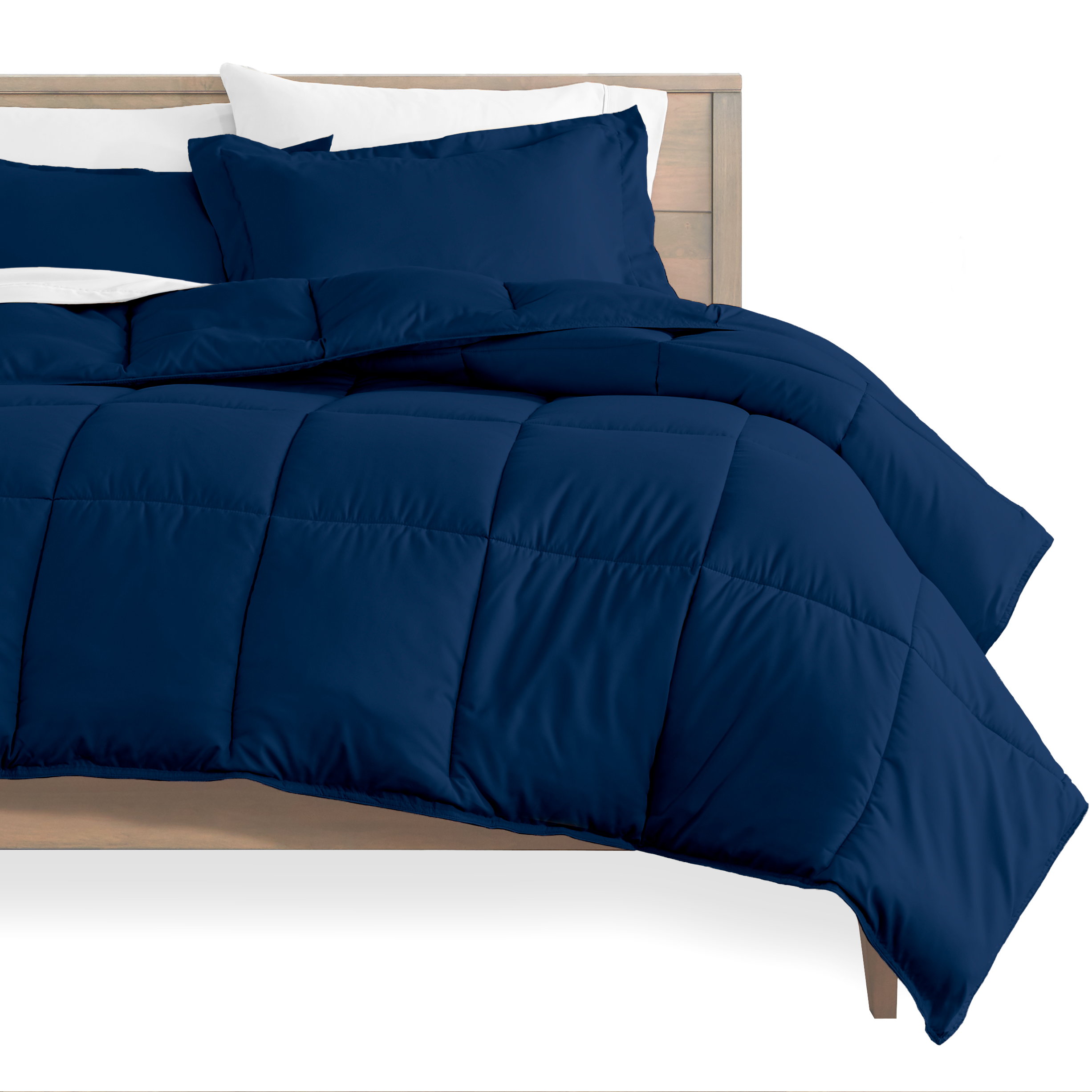 Bare Home Ultra Soft Goose Down Alternative Comforter Set Twin Twin Xl Dark Blue Walmart Com Walmart Com