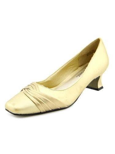 Easy Street Tidal Women WW Round Toe Canvas Gold Heels