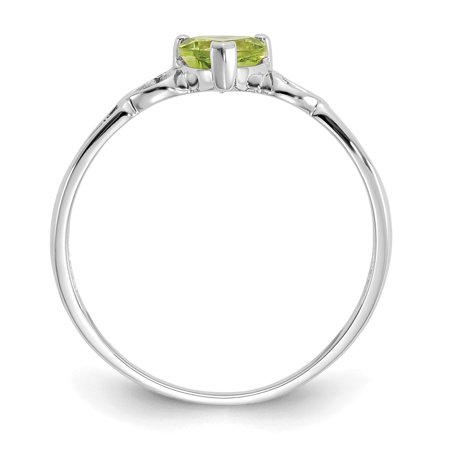 10k White Gold Green Peridot Birthstone Band Ring Size 6.00 Stone August Fine Jewelry Gifts For Women For Her - image 1 of 9