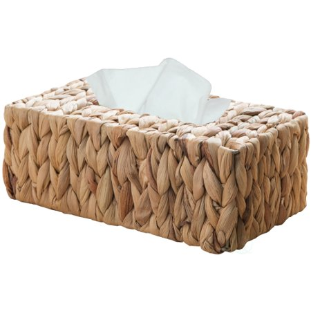 Wicker Water Hyacinth Tissue Box Cover Rectangle Satin Tissue Box Cover
