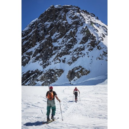 A Couple Telemark Skiing On The Ruth Glacier Near The Don Sheldon Hountain House In The Alaska Range Interior Alaska Summer Poster Print By Jim Kohl  Design Pics