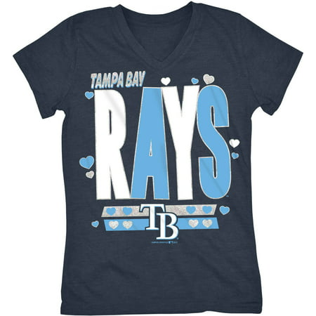 MLB Tampa Bay Rays Girls Short Sleeve Team Color Graphic Tee