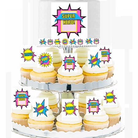 Girl's Super Hero Theme Cascading Cupcakes - Cake Toppers & Edible Picks - Superhero Girl Cake