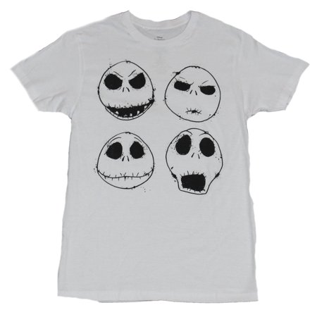 Nightmare Before Christmas Mens T-Shirt - 4 Expressions of Jack Skellington (Nightmare Before Christmas Stocking)