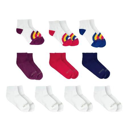 Fruit of the Loom Girls Ankle Socks 10-Pack, Sizes S-L