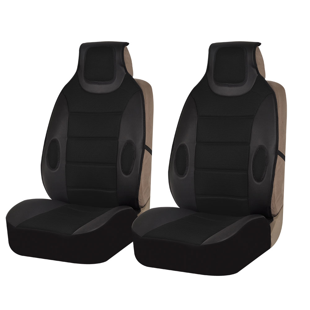 FH Group Black Faux Leather Car Seat Cushions, 2 Pack