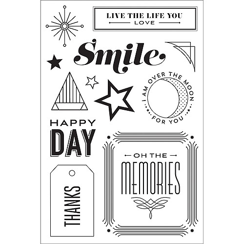 Hero Arts Basic Grey Aurora Clear Stamps, Happy Day
