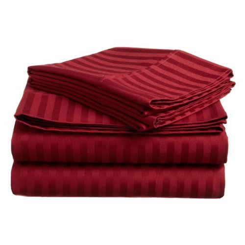 Impressions 300 Thread Count Egyptian Cotton Sateen Weave Stripe Sheet Set