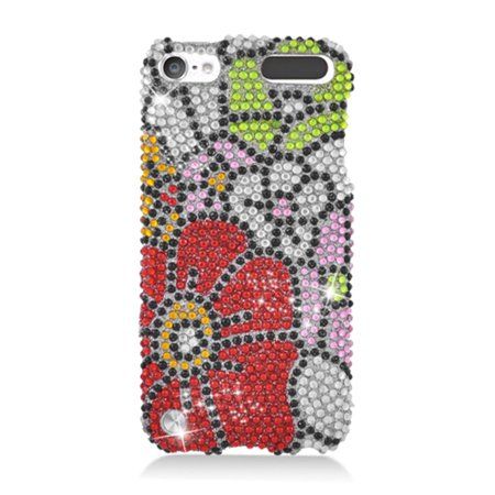 Insten Flowers Rhinestone Diamond Bling Hard Snap-in Case Cover For Apple iPod Touch 5th Gen,