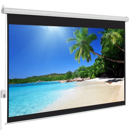 Best Choice Products 100in Ultra HD 1:3 Gain Indoor Remote Control Widescreen Wall Mounted Projector Screen for Home, Cinema, TV, Theater, Office w/ 4:3 Aspect Ratio Display, White ()